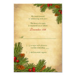 Pines Boughs Holiday Winter Wedding RSVP Card Invites