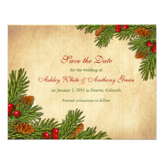 Pines Boughs Holiday Winter Wedding Save the Date Invites