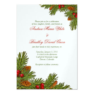 Pines Boughs Xmas Winter Wedding Invitation
