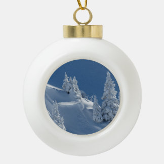 Pines Covered with Snow Ceramic Ball Christmas Ornament