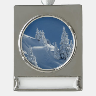 Pines Covered with Snow Silver Plated Banner Ornament