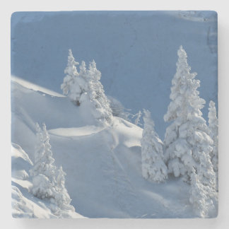 Pines Covered with Snow Stone Coaster