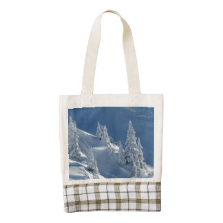 Pines Covered with Snow Zazzle HEART Tote Bag