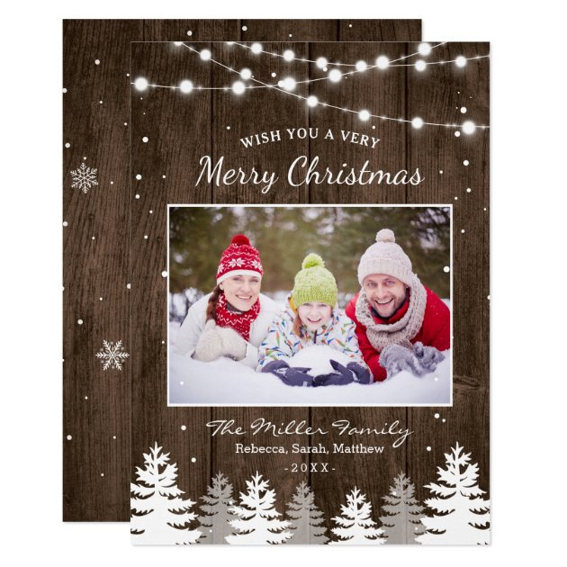 Pines Trees Snow Woodland Merry Christmas Photo Card