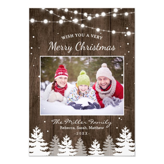 Pines Trees Snow Woodland Merry Christmas Photo Card (back side)