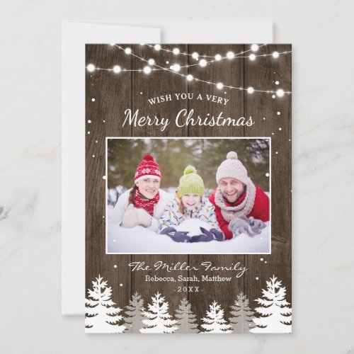Pines Trees Snow Woodland Merry Christmas Photo Holiday Card