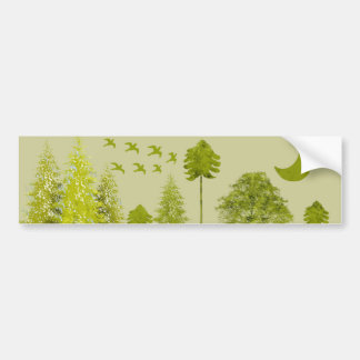 Pines with Moon-Customize Change BackGround Color Bumper Sticker