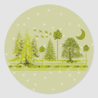 Pines with Moon-Customize Change BackGround Color Classic Round Sticker