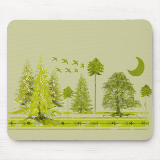 Pines with Moon-Customize Change BackGround Color Mouse Pad