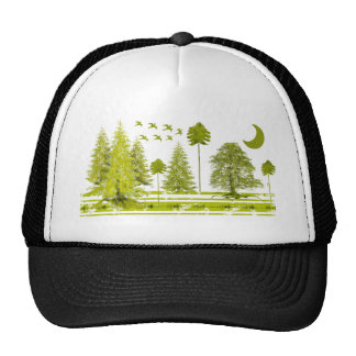 Pines with Moon-Customize Change BackGround Color Trucker Hat