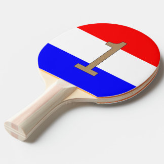 Ping Pong Badje in Rood-Wit-Blauw met Gouden nr. 1 Ping Pong Paddle