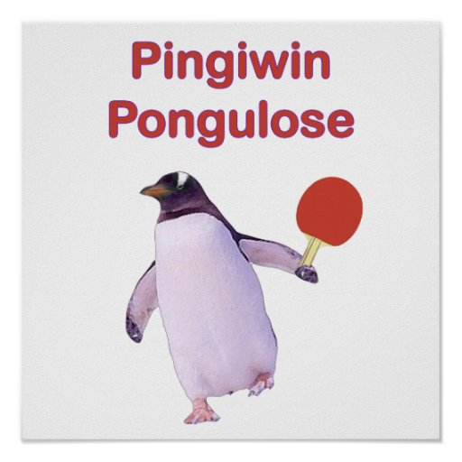 ping-pong del pingüino del uLose del iWin Posters