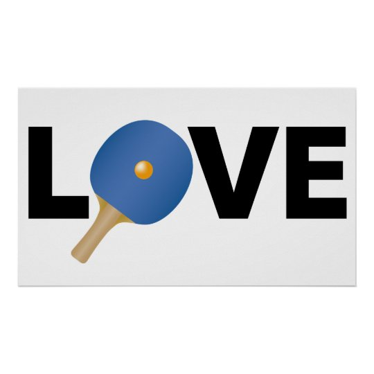 Ping Pong Love Emblem (Blue) Poster