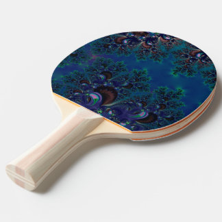 Ping Pong Paddle: Midnight Frost Crystals Fractal Ping Pong Paddle