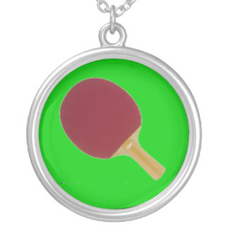 PING PONG PADDLE SILVER PLATED NECKLACE