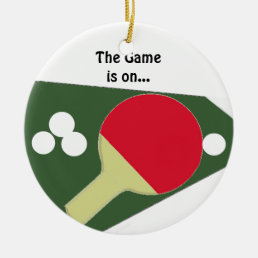 Ping Pong Paddle with Balls Ceramic Ornament