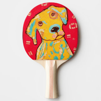Ping Pong Paddle with Curious Dog