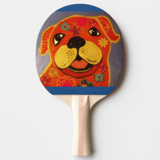Ping Pong Paddle with Happy Dog