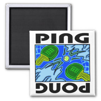 Ping Pong Paddles and Ball Table Tennis 2 Inch Square Magnet