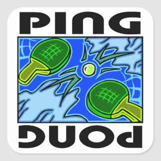 Ping Pong Paddles and Ball Table Tennis Square Sticker