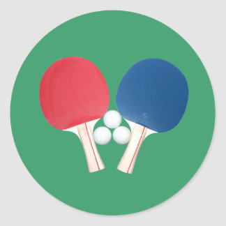 Ping Pong Paddles and Balls Classic Round Sticker