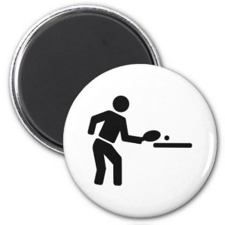 Ping pong player 2 inch round magnet