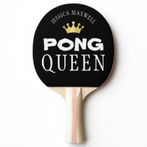 PING PONG QUEEN Personalized Editable Black Ping Pong Paddle