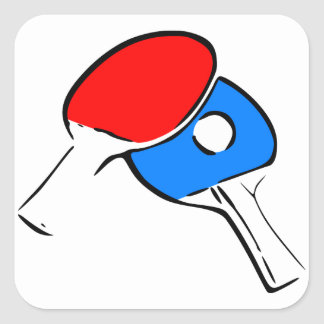 Ping Pong Red and Blue Square Sticker
