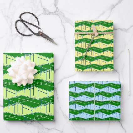 Ping Pong Tables Pattern Wrapping Paper Set