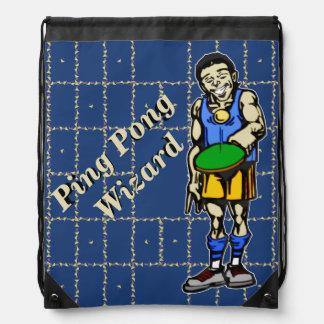 Ping Pong Wizard Drawstring Backpack