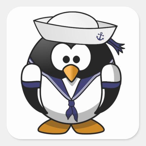 Pinguim Marinheiro Pegatina Cuadrada