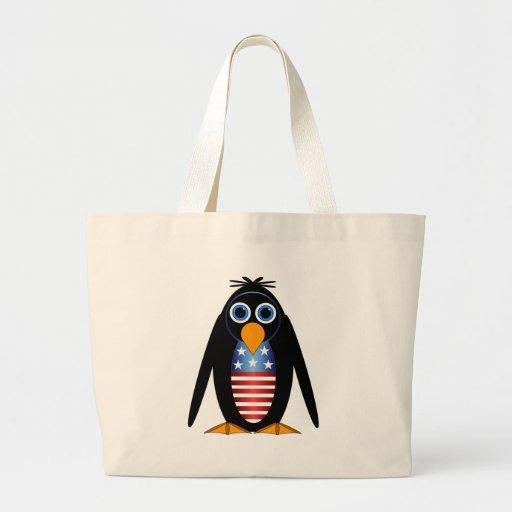 pingüino 4 de julio bolsa tela grande