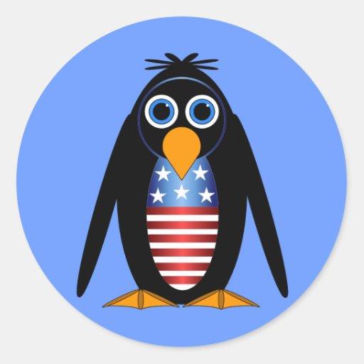 pingüino 4 de julio pegatina redonda