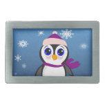Pingüino adorable del dibujo animado con la bufand hebillas de cinturon rectangulares