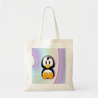 Pingüino adorable del dibujo animado que se sienta bolsa tela barata