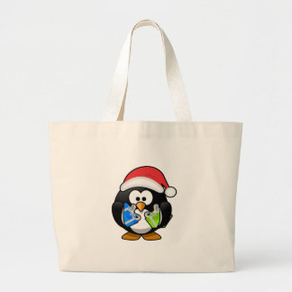 Pingüino adorable del navidad bolsa de tela grande