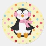 pingüino adorable pegatina redonda
