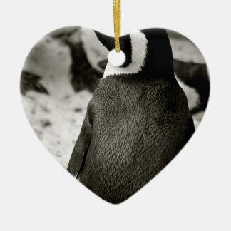 Pingüino Adorno Navideño De Cerámica En Forma De Corazón