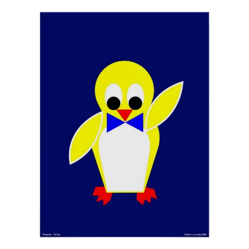 Pingüino - amarillo impresiones