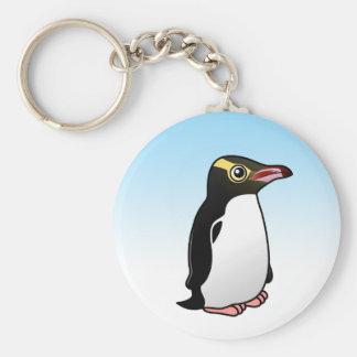 Pingüino Amarillo-observado lindo Llavero Redondo Tipo Pin