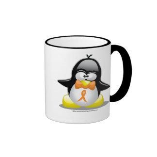 Pingüino anaranjado de la cinta taza de dos colores