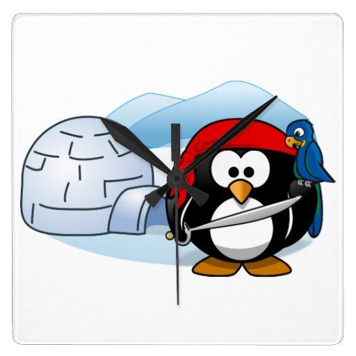 Pingüino antártico de Pitate Reloj Cuadrado