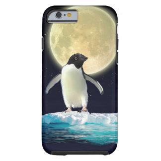 Pingüino antártico lindo y Luna Llena Funda De iPhone 6 Tough