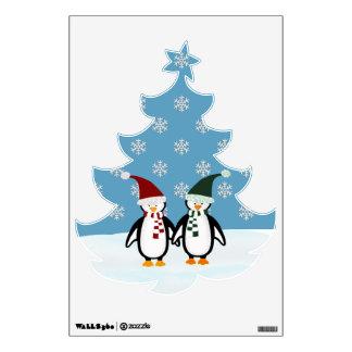 Pingüino: Árbol de navidad formado: Etiqueta de la Vinilo Adhesivo