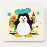 Pingüino artístico alfombrilla de ratón