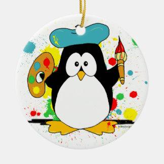 Pingüino artístico ornamentos para reyes magos