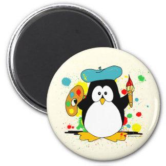 Pingüino artístico imán redondo 5 cm