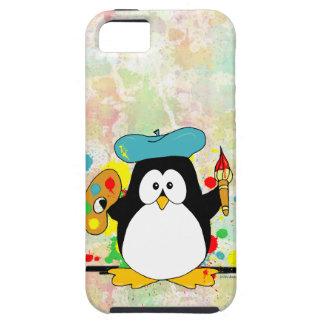 Pingüino artístico iPhone 5 carcasa