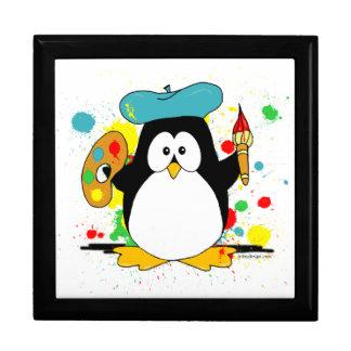 Pingüino artístico joyero cuadrado grande