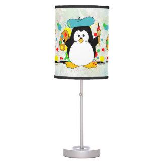 Pingüino artístico lámpara de mesilla de noche
